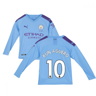 2019-2020 Manchester City Puma Home Long Sleeve Shirt (Kids) (KUN AGUERO 10)
