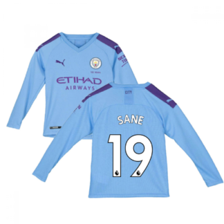2019-2020 Manchester City Puma Home Long Sleeve Shirt (Kids) (SANE 19)