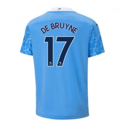 2020-2021 Manchester City Puma Home Football Shirt (Kids) (DE BRUYNE 17)
