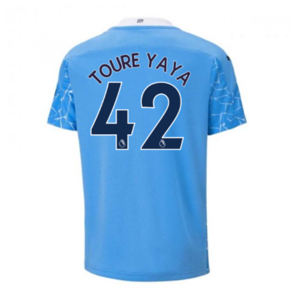 2020-2021 Manchester City Puma Home Football Shirt (Kids) (TOURE YAYA 42)