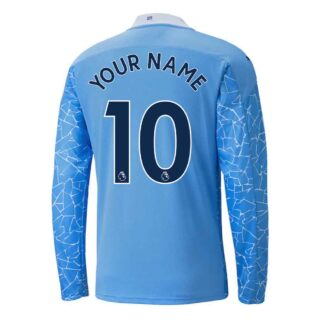 2020-2021 Manchester City Puma Home Long Sleeve Shirt (Kids) (Your Name)