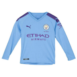 2019-2020 Manchester City Puma Home Long Sleeve Shirt (Kids)