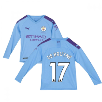 2019-2020 Manchester City Puma Home Long Sleeve Shirt (Kids) (DE BRUYNE 17)