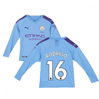 2019-2020 Manchester City Puma Home Long Sleeve Shirt (Kids) (Rodrigo 16)