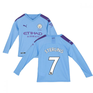 2019-2020 Manchester City Puma Home Long Sleeve Shirt (Kids) (STERLING 7)