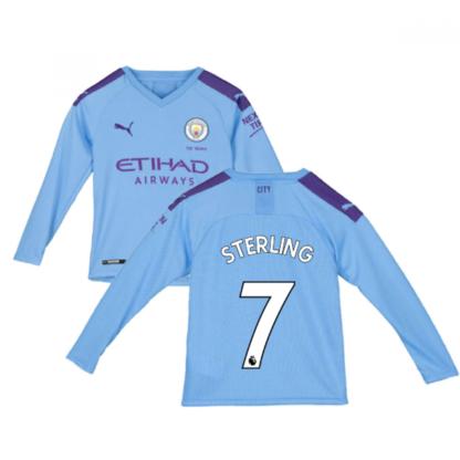 2019-2020 Manchester City Puma Home Long Sleeve Shirt (Kids) (STERLING 7)
