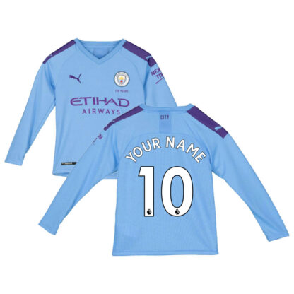 2019-2020 Manchester City Puma Home Long Sleeve Shirt (Kids) (Your Name)