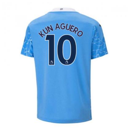 2020-2021 Manchester City Puma Home Football Shirt (Kids) (KUN AGUERO 10)