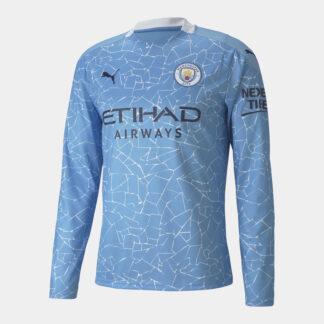 Manchester City Home Long Sleeve Shirt 20/21 Mens